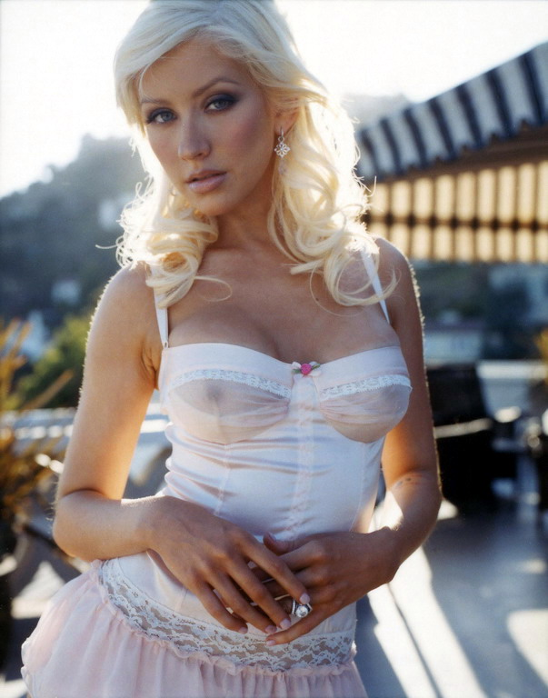 Amazing Christina Aguilera posing in white see-through lingerie