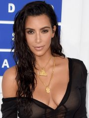 Kim Kardashian showing off her hot body in a tiny black dress at 2016 MTV Video Music Awards in NYC