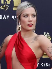 Halsey cleavy & leggy flashing under-boobs braless in a tiny red gown at the 2018 MTV Awards