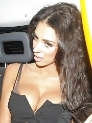 Georgia Salpa busty in skimpy black dress leaving the King's Club in London