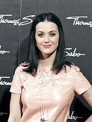 Katy Perry leggy wearing skin colored latex dress at Thomas Sabo Press Conference in Munich