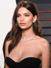 Emily Ratajkowski hot areola peek in black strapless sheer dress at the 2016 Vanity Fair Oscar Party in Beverly Hills