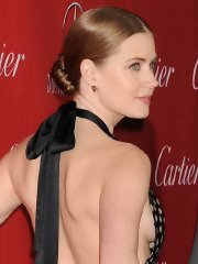 Amy Adams braless showing side-boob in a polka dot backless dress in Palm Springs