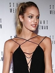 Candice Swanepoel leggy wearing a tiny black dress & knee high sandals at Mario Testino event