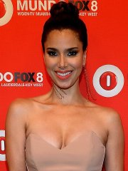 Busty Roselyn Sanchez wearing a strapless jumpsuit at Fox Mundo in Miami