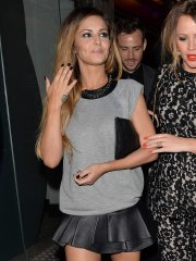 Cheryl Cole leggy wearing a leather mini dress outside the 'Box Club' in London