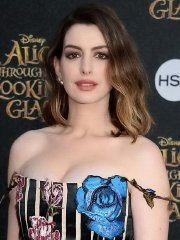 Anne Hathaway busty in short floral dress at Alice Through The Looking Glass premiere