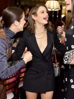 Joey King braless showing big cleavage in a tiny black blazer dress for InStyle & Kate Spade NY Dinner in West Hollywood