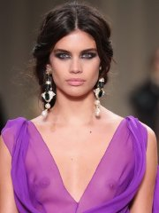 Sara Sampaio shows off her small tits braless in a see-thru purple dress at the Milan Fashion Week