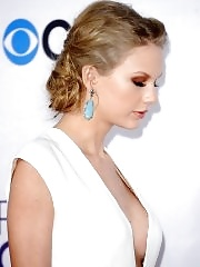 Taylor Swift braless showing huge cleavage at 39th Annual People's Choice Awards in LA