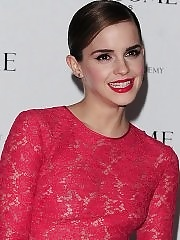 Emma Watson braless wearing red see through lace dress at pre-BAFTA 2012 party