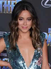 Chloe Bennet braless showing huge cleavage & leggy at the Black Panther premiere in Hollywood