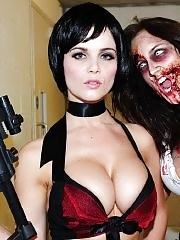 Emma Glover busty wearing skimpy outfit in Nuts' 'Sexy Zombies!' photoshoot