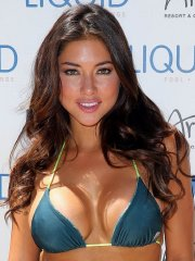 Arianny Celeste busty in skimpy bi-colored bikini at 2014 UFC Pool Party in Las Vegas