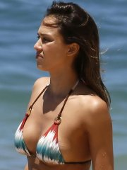 Jessica Alba shows pokies & side-boob in a tiny colorful bikini at the beach in Hawaii
