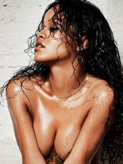Rihanna going topless for Esquire UK Magazine photoshoot - December 2014 issue