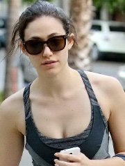 Emmy Rossum showing off her ass and abs after a workout at the gym in West Hollywood