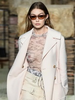 Gigi Hadid see-through to tits & nips at the Lanvin fashion show in Paris