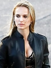 Natalie Portman showing huge cleavage on the set of a Terrence Malick film in Austin