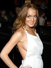 Braless Lindsay Lohan side boob in white gown
