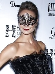Stacy Keibler in sexy black dress hosting a Halloween masquerade party in Las Vegas