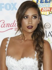 Shay Mitchell showing big cleavage in a skimpy white outfit for Teen Choice Awards