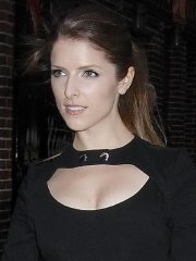 Anna Kendrick leggy & cleavy wearing a little black dress at 'The Late Show with David Letterman'