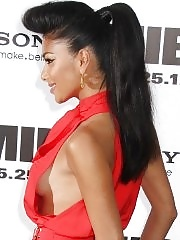 Nicole Scherzinger showing side boob braless in a skimpy red dress at the Men in Black 3 premiere