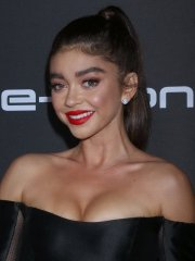 Sarah Hyland busty in black strapless mini dress at Audi's Pre-Emmy Party in LA