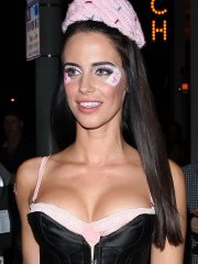 Jessica Lowndes busty and leggy in a tiny maid costume leaving the Catch in West Hollywood