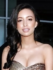 Christian Serratos shows huge cleavage wearing a tube mini dress at the 'Now You See Me' screening