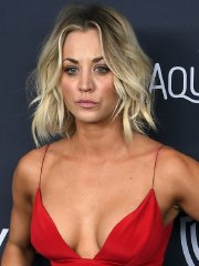 Kaley Cuoco cleavy & leggy showing her big boobs at InStyle and Warner Bros. Golden Globe Awards After Party in Beverly Hills
