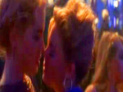 Sharon Stone seduces a guy and a chick into rubbing crotches with her on the dance floor