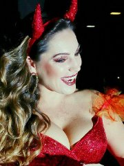 Kelly Brook busty & leggy in tiny red devil costume and stockings at a Halloween Party in Hollywood