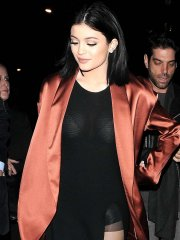 Kylie Jenner panty peek and see through to bra out in London