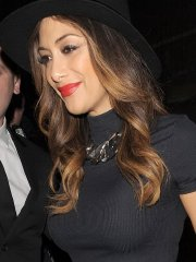 Nicole Scherzinger busty in tight black belly top leaving the London Palladium