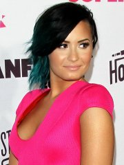 Demi Lovato showing cleavage at Vevo CERTIFIED SuperFanFest presented by Honda Stage in Santa Monica, CA