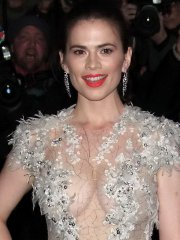 Hayley Atwell braless flashing her big boobs in a c-thru dress at 59th London Evening Standard Theatre Awards