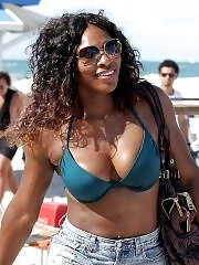 Serena Williams busty wearing bikini at the South Beach