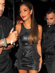 Nicole Scherzinger leggy wearing a leather mini skirt outside Nobu Berkeley in Mayfair