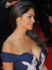 Casey Batchelor showing huge cleavage at the 'What If' premiere in London