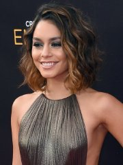 Vanessa Hudgens braless showing side-boob pokies and legs at Creative Arts Emmy Awards