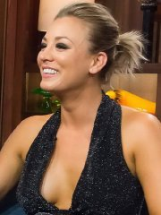 Kaley Cuoco flashing her big boobs braless in a low cut dress at Whatch What Happens Live in NYC