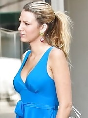 Blake Lively showing big cleavage wearing blue maxi dress at the set of Gossip Girl in New York