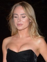 Kimberley Garner busty in a tiny black strapless top & skirt at the Fabulous Fund Fair in London