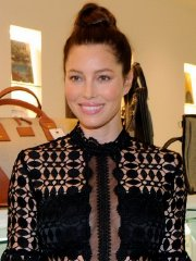 Jessica Biel busty and braless wearing a sheer shirt at BAREITALL + BARE AW15 Launch Event in Santa Monica