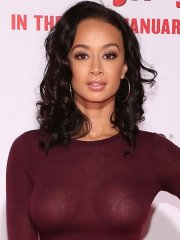 Draya Michele shows her huge boobs in a see-thru top at The Wedding Ringer LA premiere