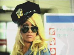 Pam Anderson fulfills cop fetishes by dressing up her tits on camera