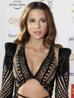 Kate Beckinsale cleavy & leggy in a revealing mesh black lace dress at the 50th NAACAP Image Awards in Hollywood