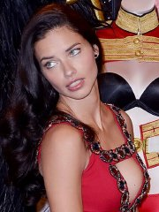 Adriana Lima showing huge cleavage at the Victoria's Secret press conference in London